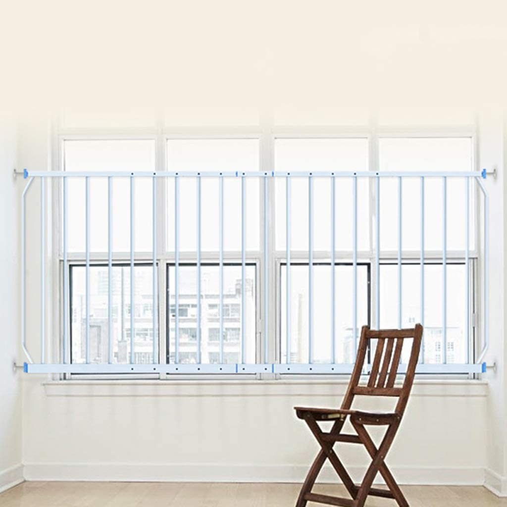 Barrera seguridad Rejillas de seguridad de ventana extra ancha Rejas de seguridad para niños Barras de rejilla de balaustres de acero, Blanco, 77 cm de altura, 290-335 cm de ancho Barandilla resistent: