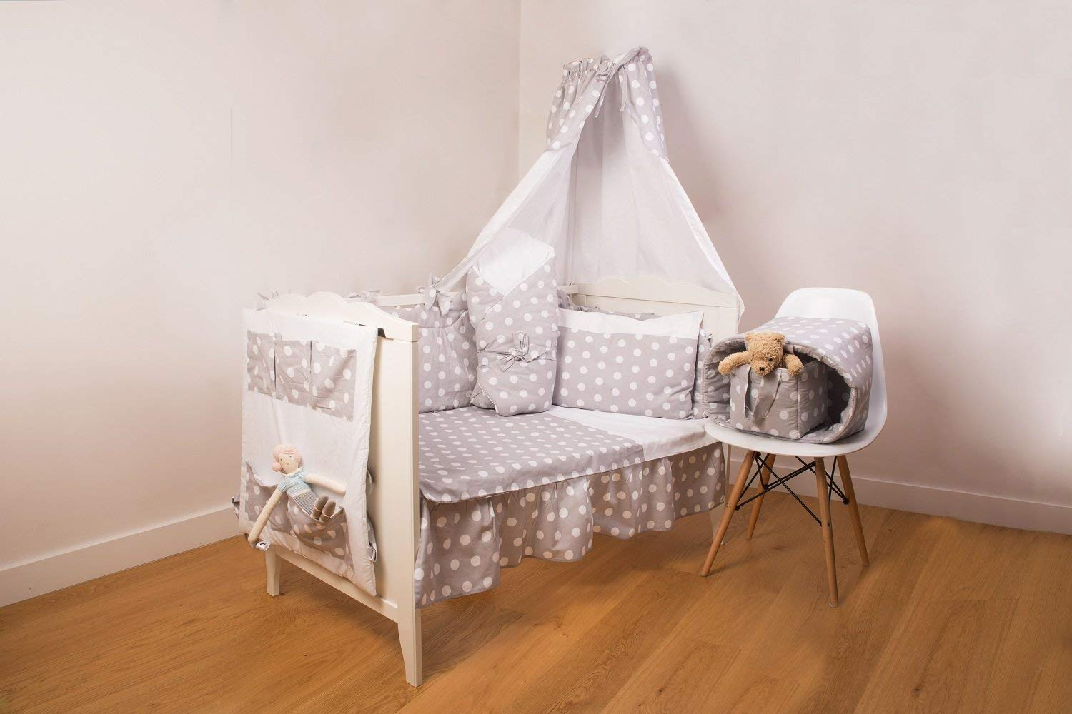 Safe for Babies Padded Bumper Removable with Zipper for COT 60x120cm Vizaro 100/% Luxury Cotton C Great Laced Star OekoTex Made in EU