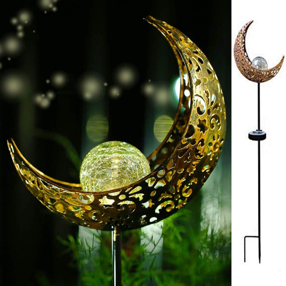 LONZEN Solar Pathway Lights Outdoor - Moon Crackle Glass Globe Garden Stake Metal Lights, Led Solar Landscape Lights, Waterproof Auto On/Off Warm White Sun Powered Lighting Decorate Yard, Patio