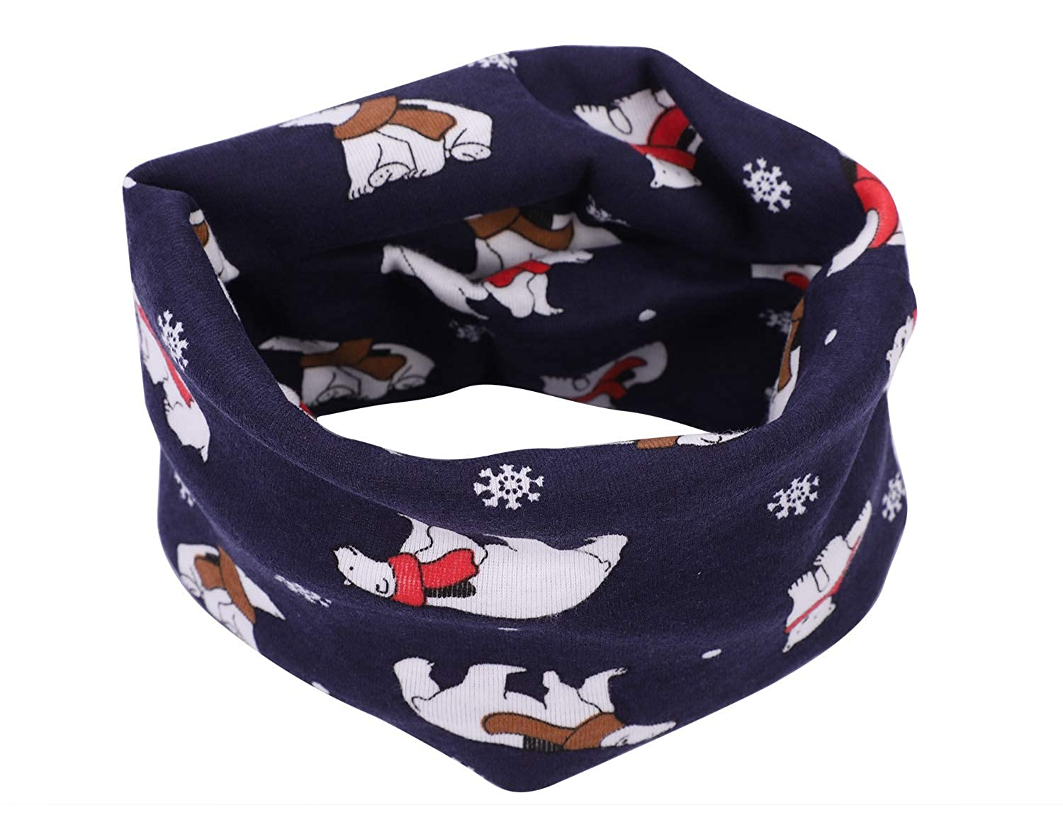 Kids Toddler Cotton Neck Scarf Collar Scarf Snood Scarf Neck Warmer Wrap Multipurpose Neckerchief Circle Scarf Beanie Hat Bandana Wind Mask with Star Pattern for Baby Girls or Boys 15 x 7inch
