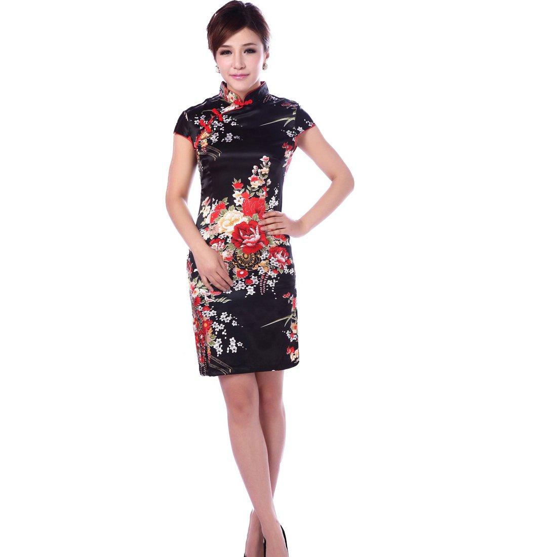 JTC Women's Black Short Silk Cheongsam Dress 1pc (0)