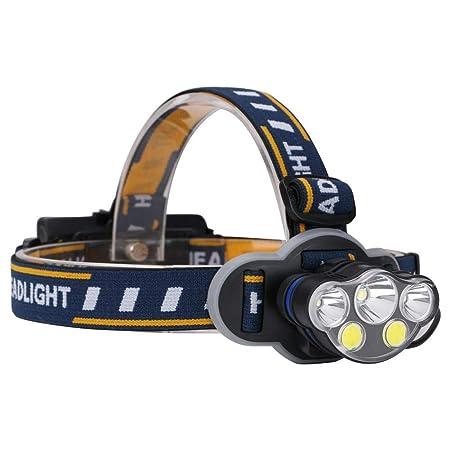 Matefielduk Linterna Frontal LED 5LED super brillante faro al aire libre carga USB pesca caza antorcha cabeza - - Amazon.com
