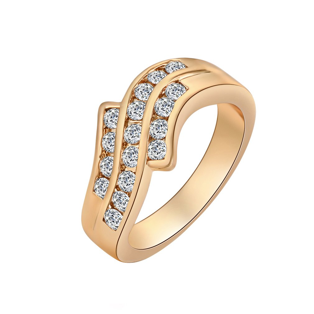 YAZILIND 18K Gold Plated Ring With Three Row OF Many Small White Crysal Modern Time Cool Size 6.5 YAZILIND JEWELRY LIMITED 1076R0292