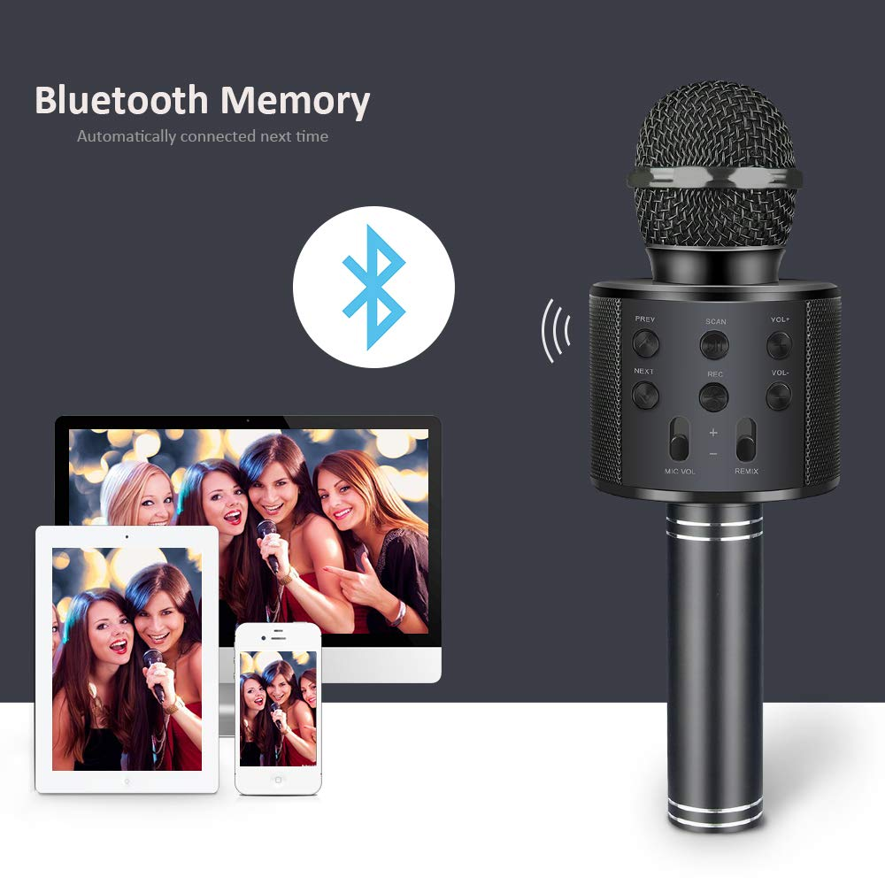 LET'S GO! Microphone for Kids, Wireless Portable Handheld Karaoke Microphone Bluetooth Kids Karaoke Microphone Best Fun Gifts for 5-14 Year Old Boys Girls Black DMHK5 by LET'S GO! (Image #3)