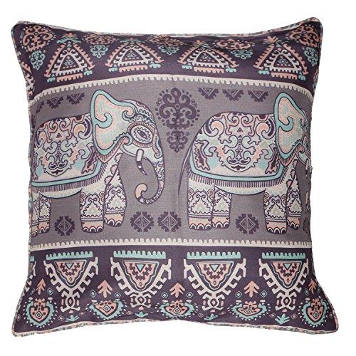 ShalinIndia Digitally Printed Folk Elephants Throw Pillow Covers Zipper Faux Silk Dupion Cushion Covers Set Of 2, 18 X 18 Inch (Silk Cushion Dupion)