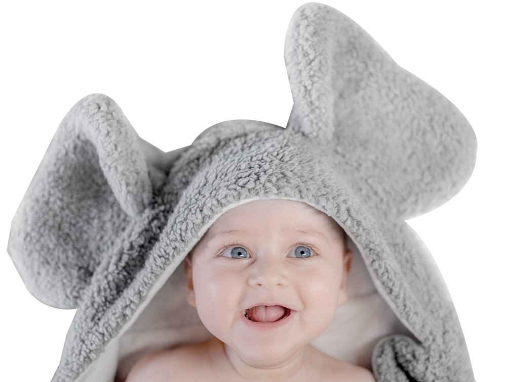 BabyPlix Grey Carton Elephant Baby Hooded Cotton Plush Towel for Newborn Toddler