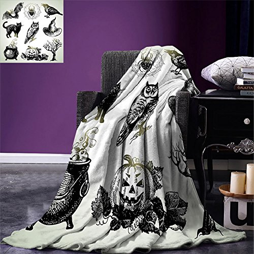 (smallbeefly Vintage Halloween Digital Printing Blanket Halloween Related Pictures Drawn by Hand Raven Owl Spider Black Cat Summer Quilt Comforter Black)