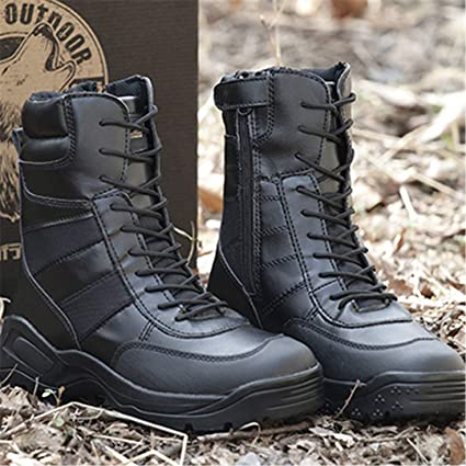 c881a05b11eff Amazon.com: Black Tactical Boots Military Hiking Shoes Men Army ...