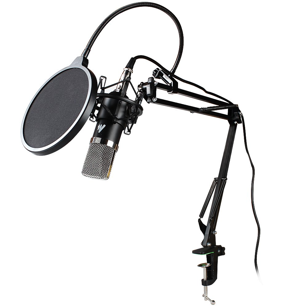 MAONO AU-A03 Condenser Microphone Kit Podcast Mic with Boom Arm Microphone Stand, Shock Mount, Pop Filter for Koraoke, Skype, YouTube Recording