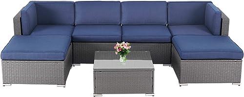 Incbruce Patio Furniture Set 7-Piece Outdoor Sectional Sofa All-Weather Manual Weaving Rattan Wicker Conversation Set