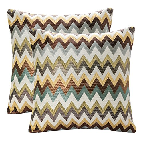 Pack of 2 SimpleDecor Jacquard Chevron Pattern Cushion Covers Decorative Pillowcases Multicolor 18X18 Inch Multicolor