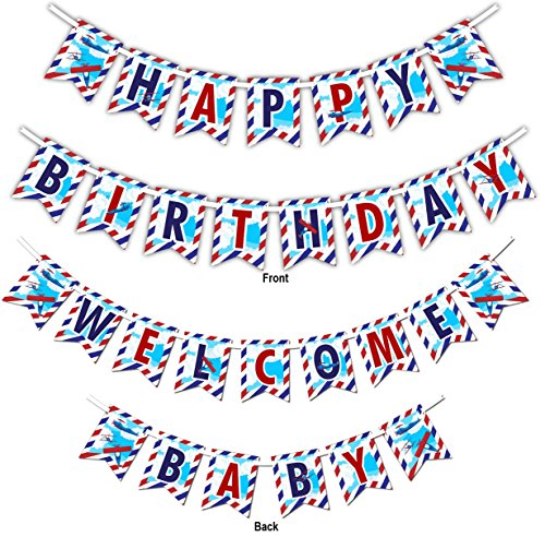 (Airplane Multi-Use Happy Birthday or Welcome Baby Shower Party Banner Decoration (23ft Ribbon))