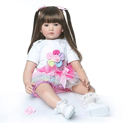 TERABITHIA 24inch 60cm Big Size Silicone Vinyl Reborn Toddler Princess Girl Doll Rainbow Dress Stuffed Cloth Body Newborn Dolls That Look Realistic Child Xmas Birthday Gift: Toys & Games