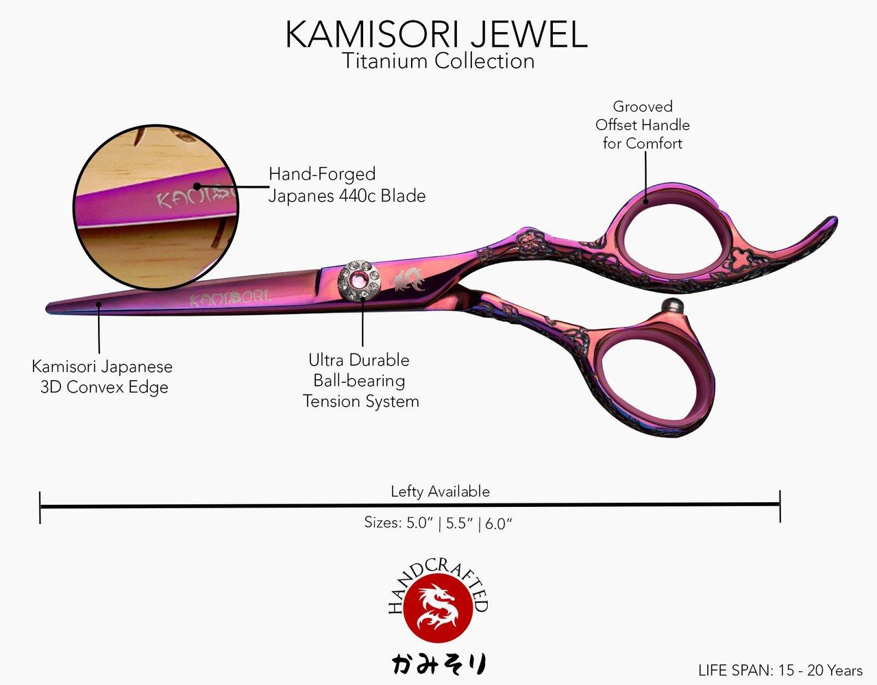 Kamisori Jewel 5.5'' Hair Cutting Shear / Scissor (HE-3) - Authorized Distributor by Kamisori (Image #2)