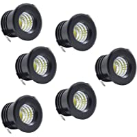 6 Pack LED Mini Black Recessed Ceiling Spotlight LED Mini Downlight for Cabinet Ceiling Light, 3W, Cold White