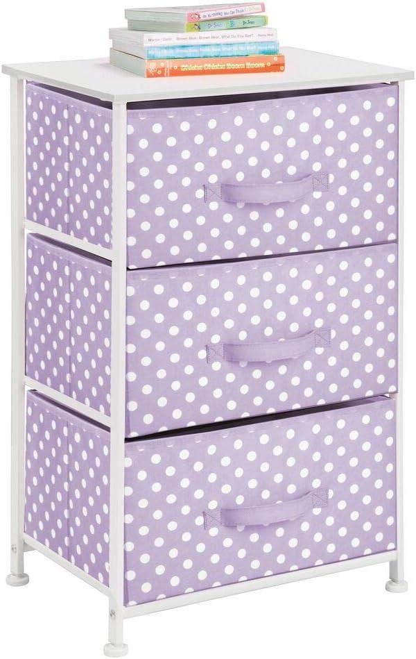 mDesign 3-Drawer Vertical Dresser Storage Tower - Sturdy Steel Frame, Wood Top, and Easy Pull Fabric Bins - Multi-Bin Organizer Unit for Child/Kids Bedroom or Nursery - Light Purple/White Polka Dots