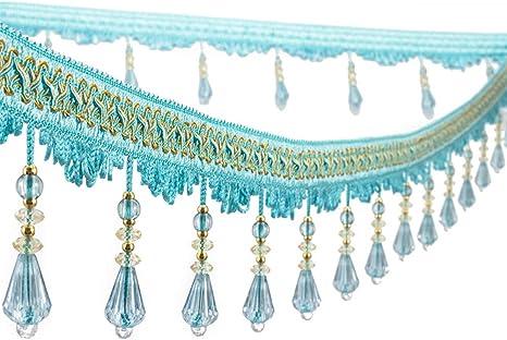 Wildgirl Curtain Fringe Crystal-Like Beading Tassel Macrame 12.5 Yards Pea Green