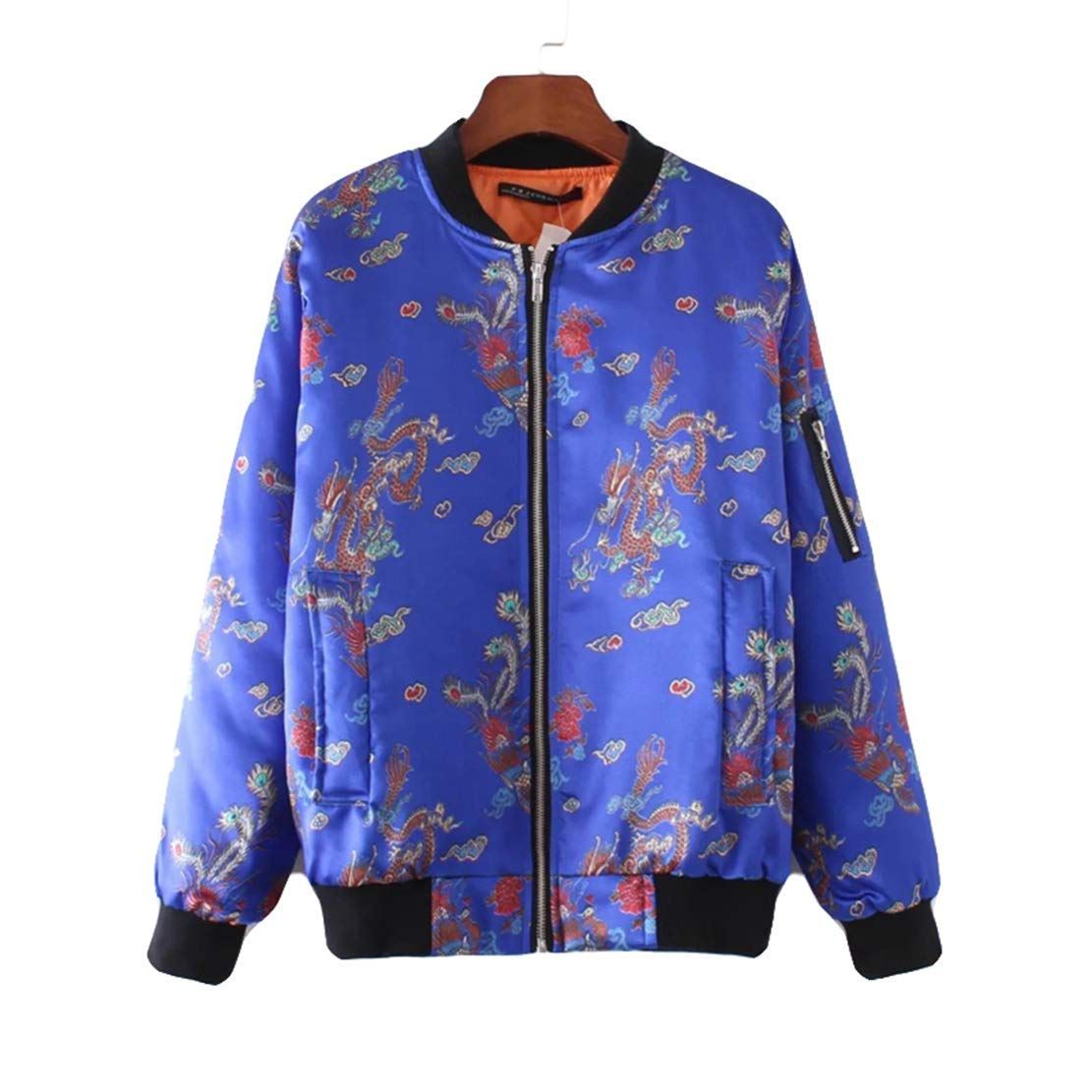 Amazon.com: Women Winter Parkas Blue Print Silk Bomber ...