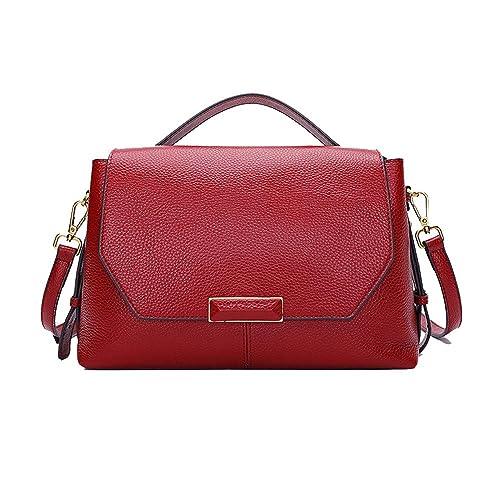 Las mujeres de cuero genuino bolso de gran capacidad de diseño vintage bolsas de hombro Crossbody Bolsa Top Mango multi - bolsillo,De gules: Amazon.es: ...