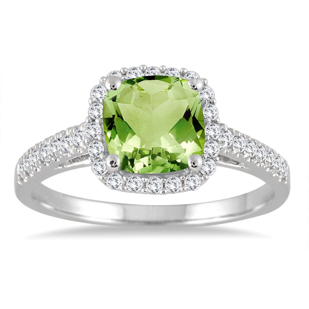 Peridot and Diamond Ring in 10K White Gold by Szul