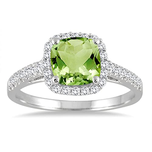 ce5839fc2c154 Peridot and Diamond Ring in 10K White Gold