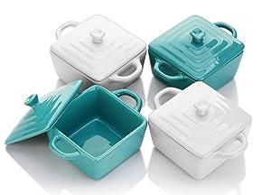 Lifver 8-oz Ceramic Ramekins/Mini Casserole/Soufflé Dish, Set of 4, White & Blue