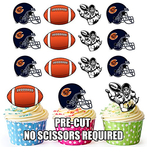 AKGifts American Football NFL Cupcake Toppers / Cake Decorations (Pack of 12) CHICAGO BEARS (7 - 10 BUSINESS DAYS DELIVERY FROM UK)