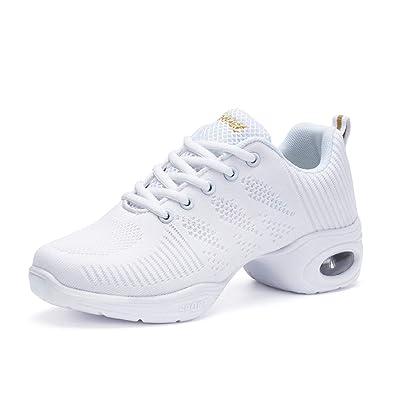 118e198e8dbdc0 AONEGOLD Chaussures de Sport Danse Femme Moderne Jazz Latin Standard  Détente Sneakers Baskets(Blanc,