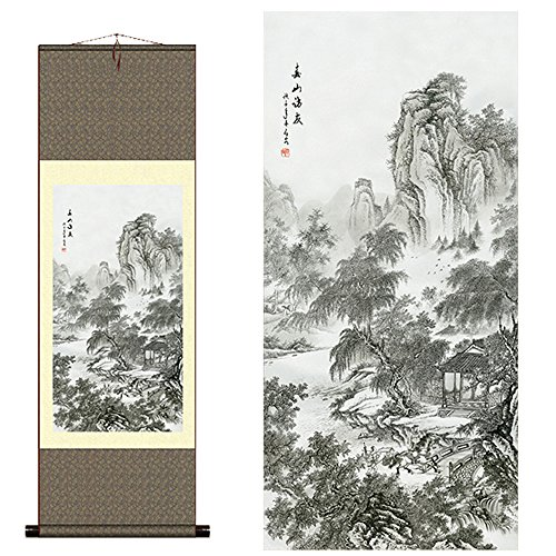 sunmir TM Silk scroll painting Chinese landscape scenery Visitor map