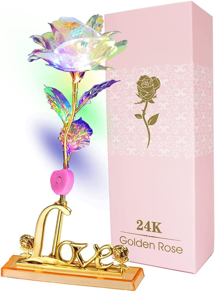 24K Crystal Gold Foil Rose Flower LED Galaxy Mother/'s Day Valentine/'s Day Gift #