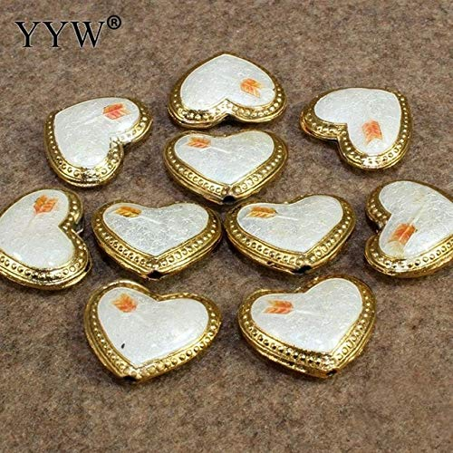 (Calvas Cloisonne Beads Heart Handmade More Colors for Choice 18x15mm Hole:Approx 1.5mm 10pcs/Bag Sold by Bag - (Color: White))