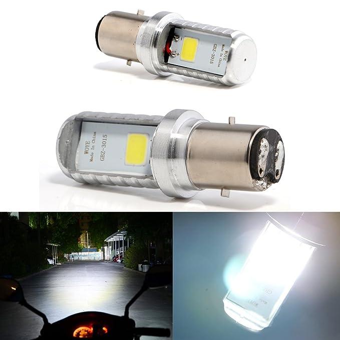 Bulbos de Grandview BA20D LED, bulbos de la linterna delantera de la motocicleta BA20D de 2pcs blancos, bulbos de la linterna de la motocicleta de la ...