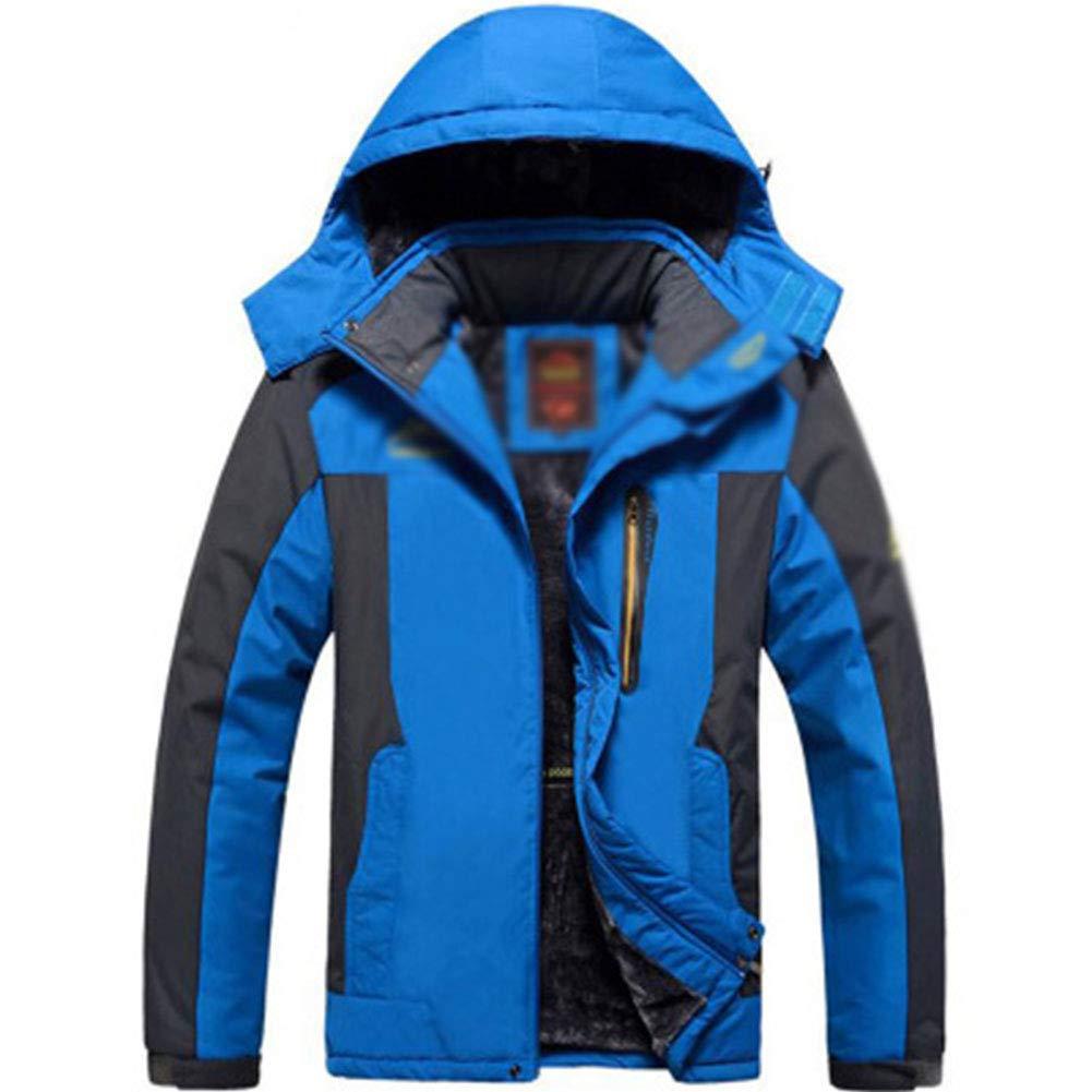 SHR-GCHAO Winter großer Mann-Plus Samt Dicke wasserdichte, atmungsaktive Jacke Outdoor-Sport Reiten Ski-Mantel,Blau,L