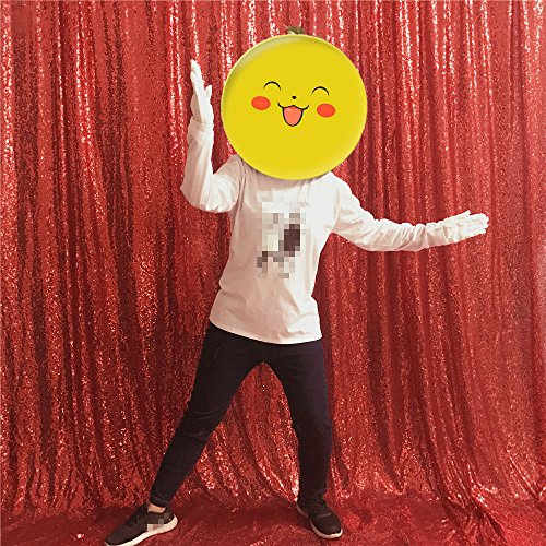Price comparison product image TRLYC Red Christmas Photo Booth Wedding Curtain Sweets Background for Wedding Party Fathers'Day--4FT by 6FT