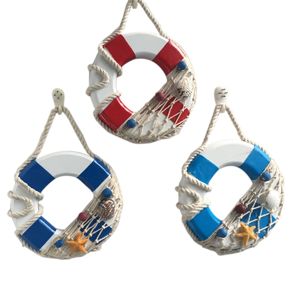 VORCOOL 3pcs Mediterranean Style Creative Wooden Mini Life Buoy Ring Shape Door and Wall Hanging Ornaments Decoration Arts and Crafts Home Store Hotel Pendant Decorations (Red, Light Blue, Dark Blue)