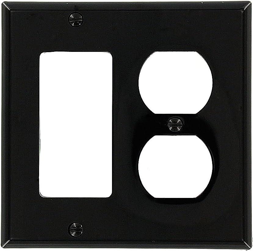 Leviton 80746-E 2-Gang 1-Duplex 1-Decora/GFCI Device Combination Wallplate, Standard Size, Thermoplastic Nylon, Black
