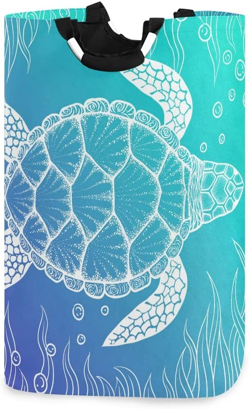 ALAZA Sea Turtle Under Water Boho Style Large Laundry Hamper Bag Collapsible with Handles Waterproof Durable Clothes Round Washing Bin Dirty Baskets Organization for Home Bathroom Dorm College