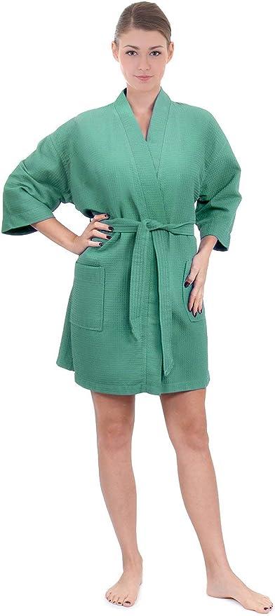 Turkuoise Linen Lightweight Knee Length Waffle Kimono Bath and Spa Robe