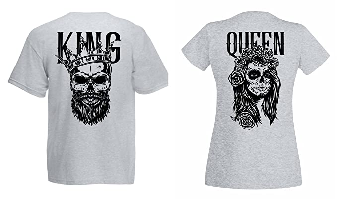 TRVPPY Partner Herren + Damen T Shirts King & Queen Skull