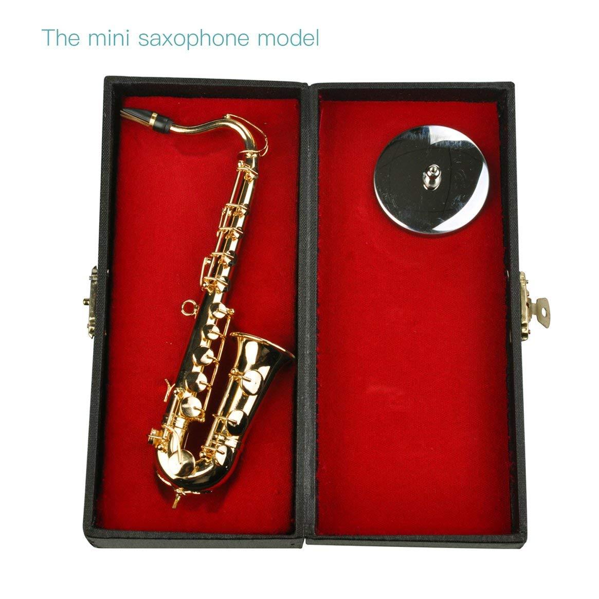 Instrumentos Musicales de Mini Saxofó n Goldplated Craft Modelo miniatura del saxofó n con el soporte de metal para la decoració n del hogar Delicacydex