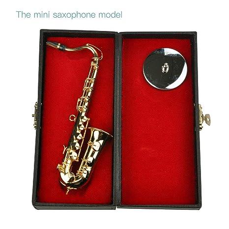 Instrumentos Musicales de Mini Saxofón Goldplated Craft Modelo miniatura del saxofón con el soporte de metal