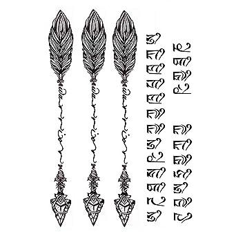 Arichtop - Tatuaje de cuerpo de plumas de sánscrito para mujer y ...