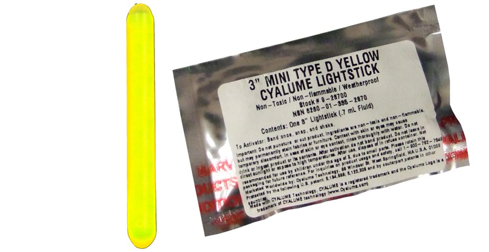 Cyalume Mini ChemLight Military Grade Light Stick, 3'' Length, 4 Hour Duration, Yellow (Pack of 25)