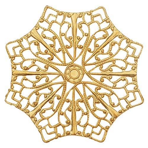Vintaj Vogue Embellishments, Delicate Web Filigree 41mm, 1 Piece, Raw ()