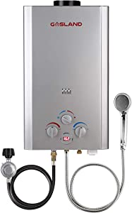 Tankless Water Heater, GASLAND Outdoors BE264S 2.64GPM 10L Outdoor Portable Gas Water Heater, Propane Water Heater, Overheating Protection, Easy to Install, Use for RV Cabin Barn Camping Boat, Silver