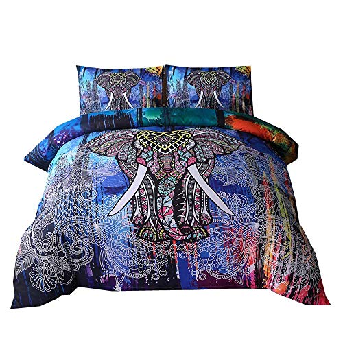 - DasyFly Bohemian Bedding Mandala Duvet Cover Set (1 Duvet Cover+2 Pillowcases),Super Soft Elephant Mandala Exotic Pattern Boho Bedding Sets with Zipper King Size