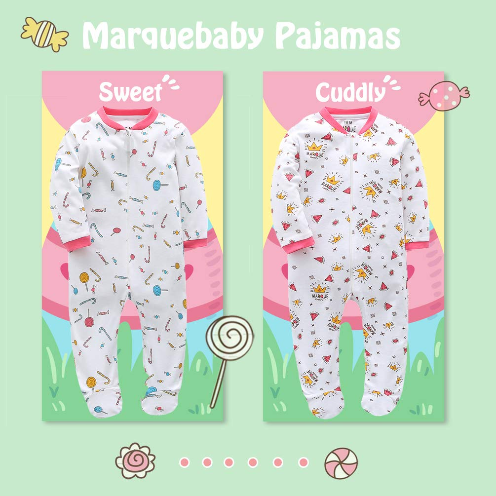 5e490ac33162 Amazon.com  Baby Girls Footed Pajama - 100% Cotton Zip Front Sleep ...