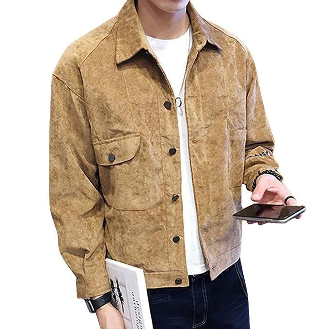 Hombre Otoño Pana Patrón Retro Abotonado Clásico De Solapa Corta Chaqueta Manga Larga Camisa Holgada Bolsillo Abrigo: Amazon.es: Ropa y accesorios