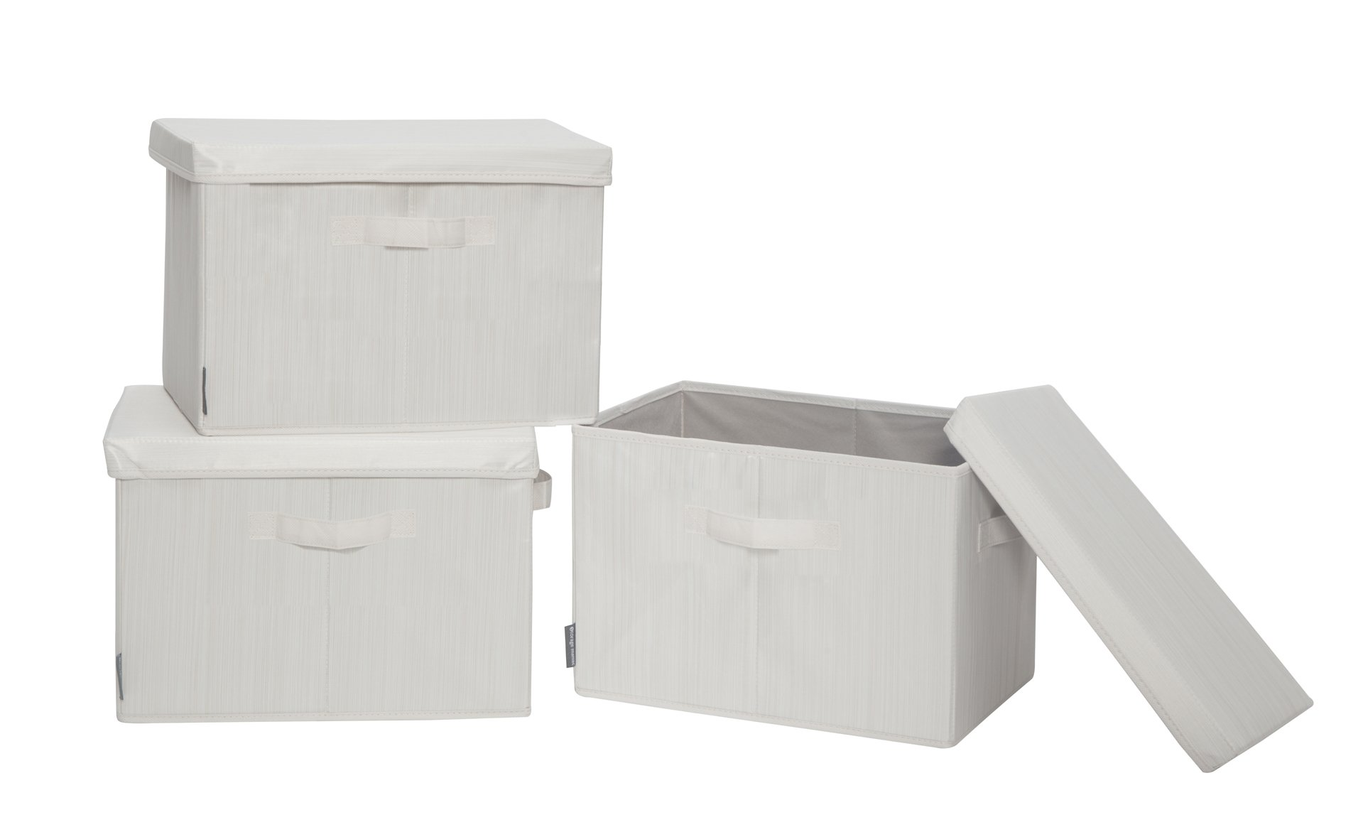 "STORAGE MANIAC Canvas Storage Box with Lid, Folding Basket Organizer Bin, Bamboo Style, 3-Pack, Medium - Removable Lid - The sturdy lid provides a dust proof solution. These storage boxes are stackable with lid, or you can remove it for taller things, getting different kinds of containers to store items Dimension - Medium Size 10.24"" x 14.96"" x 10.24"", suitable for storing books, arts and crafts, office supplies, towels, seasonal items, toy baskets for kids, cosmetics cases on dressers, etc. Reinforced Handles - Features 2 reinforced handles on the front and one side, easy to move and lift the cute fantastic storage box - living-room-decor, living-room, baskets-storage - 61vG5ErwqdL -"