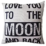 Decorative Pillow Cover - CoolDream Decorative 18*18 Inch Linen Cloth Pillow Cover Cushion Case, Love You To The Moon
